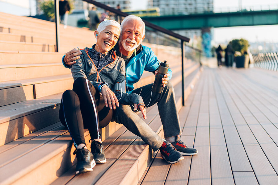 Couple enjoying the view after exercising
